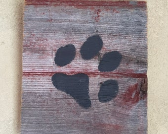 Rustic Barn Wood Wall Decor  • Black Paw Print Silhouette Wall Art • Wooden Chalk Paint Wall Hanging • Ready to Ship