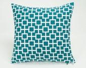 Lagoon Blue Latticescape Throw Pillow Cover - 16 inch