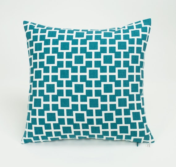 Lagoon Blue Latticescape Throw Pillow Cover - 16 inch