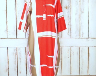 Vintage Catherine Ogust /Penthouse Gallery red/white/tan color block caftan dress/pullover tent dress/large
