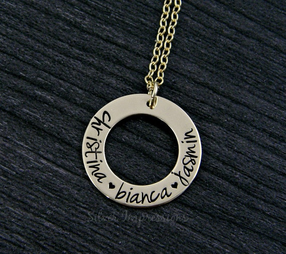 Gold Washer Necklace / Personalized Gold Filled hand stamped necklace