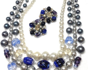 Blue Glass & Faux Pearl Necklace // Four Strand // Clip Earrings // Japan