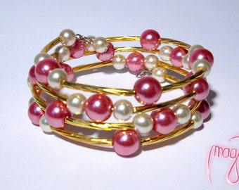 Bracelet (Memory Wire) - Pink Cherry
