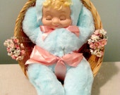 Vintage Ideal Rubber Face Baby Doll In Basket