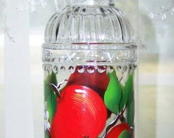 Bottle hand painted red apples