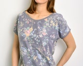 grey summer blouse with flowers by STADTKIND