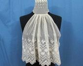 "Victorian Collar w/Jabot - 1800s Fine Net Lace High Neck Collar with 15"" Jabot"