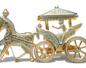 Horse and Carriage Brooch Damascene Style from Spin with Light Blue on Gold with Moveable Wheels - Vintage Jewelry