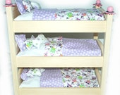 Doll Bed - Whoooo's There? We love Owls - Triple Bunk - Fits 18 inch dolls and AG dolls - American Girl Furniture