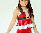 Girls Santa Christmas Holiday Swim Suit