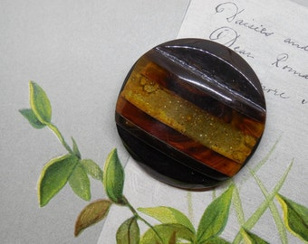 """3 Color Applejuice Glitter, Rootbeer and Brown Bakelite Button 1.3/4"""""""