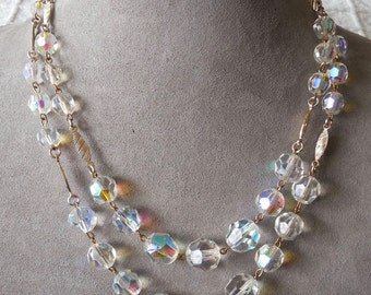 West Germany Aurora Borealis Crystal Bead Choker Necklace