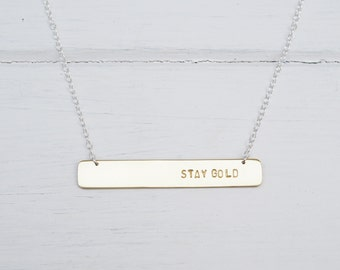 Personalised Bar Necklace In Brass or Sterling Silver. Custom Necklace, Choose Your Own Wording
