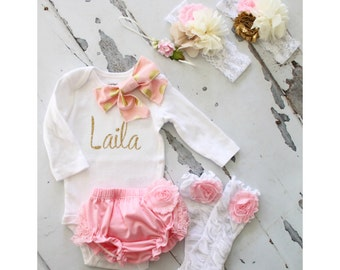 Baby Girl Easter Spring Outfit Set to 4 Items. Personalized Bow Bodysuit, Lace Bloomers Diaper Cover, Leg Warmers. Coming Home Set Valentine