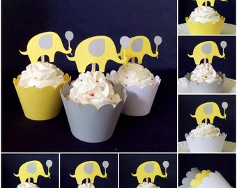 18 Yellow and Grey Elephant Cupcake Toppers Elephant Baby Shower Cupcake Decoration Gender Neutral Elephant Party Food Pick READY TO SHIP
