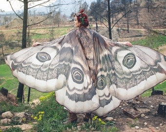 Moth wings butterfly cape fairy cloak brown and white costume adult bridal fairy handfasting