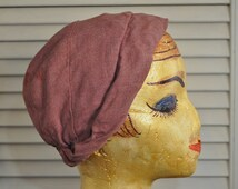 Retro 20's Cloche Women's Hat/Hollywood Style Cap/1920's to 1930's Flapper Look/Theater Costume/Mauve Purple/Distressed/Daywear