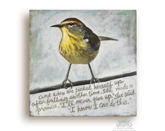 Bird Art Gift Idea, Confidence Quote Support Gift, Girlfriend Gift Idea, Inspirational Gift for Her, Bird Art in Barnwood Frame, Wall Quote
