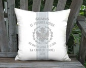 Blue Gray Grain Sack Style Bastide Pillow Cover - Linen Cotton French Country Pillow - 16x 18x 20x 22x 24x 26x 28x 30x Inch Cushion Cover