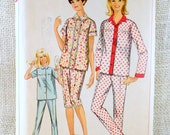 Vintage Pattern Simplicity 6593 Pajamas 1960s Bust 36 Sewing shortie long stovepipe Uncut