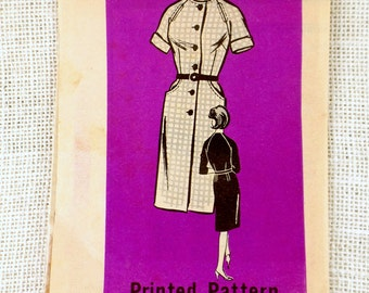 Mail order pattern 9849 Vintage sewing pattern Dress 1960s shirtwaist shirtwaist wiggle housewife Dress Bust 38 Large