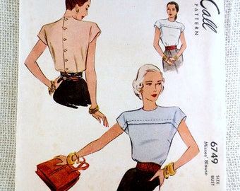 Vintage pattern McCall 6749 1940s blouse Sewing Bust 32 cap sleeve tucked Post War back buttoned kimono sleeves shoulder pads