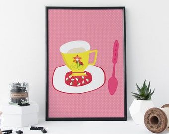 A4 Art Print Home Decor and Kitchen Art - Tea Cup And Spoon Illustrated Art Print
