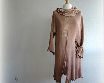 Sweater Light to Dark Brown With Knitted Hand-Dyed  LINEN  Eco Friendly Natural