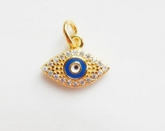 Gold vermeil evil eye charm with cz(12x10mm, gold plated sterling silver