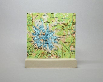 Mount Rainier National Park Washington Map on Metal for Desk or Shelf Gift for Hiker Climber Men or Women