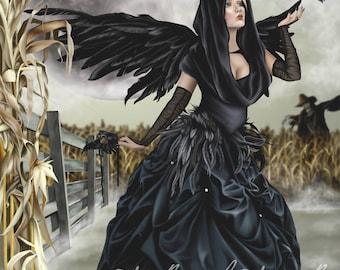Raven Fairy Crow Witch Corn Moon Masquerade Blackbird - Fantasy Fine Art Print