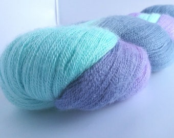 Spring Rain hand dyed extra fine merino and silk laceweight yarn