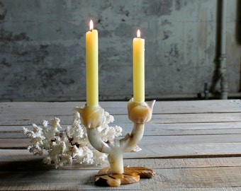 Vintage Rose Shaped Alabaster / Marble / Stone / Candle Holder