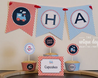 INSTANT DOWNLOAD Train Birthday Banner - Printable Happy Birthday Banner - Banner // TRA-15