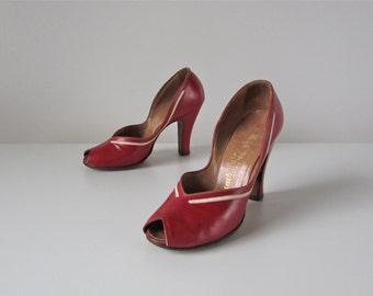 1940s shoes / Sweet Cherries / 40s high heels