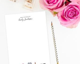 Personalized Notepad - Fashionista   Custom   Stationery   Monogram   Journal   Note Pad   Handbag   Designer   Lipstick   Ray Bans   To Do