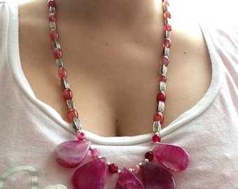 OOAK Gemstone Necklace, Dragon's Vein Agate, Agate Stone Beads, Silver Plated Spacers, Summer Jewelry