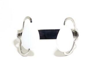 White Stone Bracelet, Stainless Steel Bracelet, White Stone, Accessories, Women, Men, BLB 101