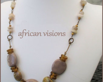 African Bead Tribal Style Gemstone Necklace Kazuri Beads Brass Cotton Cord Dark Lavender Gray Gold Wire Wrapped Jewelry 22 to 23-1/4in