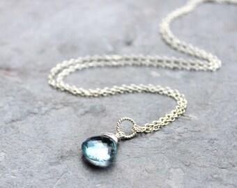 Blue Topaz Necklace Pendant Drop, Swiss Blue Topaz, December Birthstone, Sterling Silver