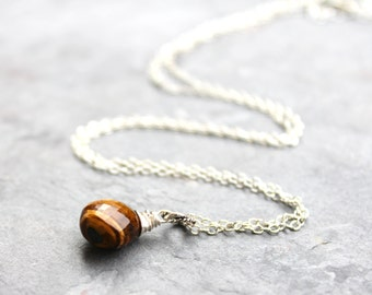 Tigers Eye Necklace Sterling Silver Wire Wrapped Briolette Wood Grain Brown Gemstone Natural