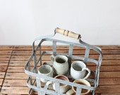 vintage galvanized metal milk basket