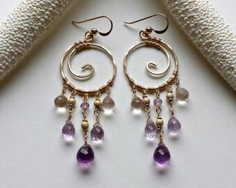 Gold Amethyst Chandelier Earrings, Koru Chandelier, Ametrine Dangle Earrings, Gold Koru Earrings, Boho Chandelier Earrings:  Ready to Ship