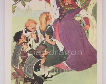Vintage Alice in Wonderland Illustration, Alice and the Queen of Hearts, Margorie Torrey, 1960's, Dandelion Library, Frameable Print
