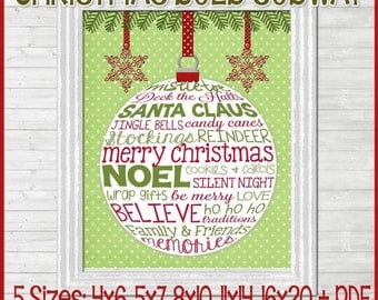 NEW Christmas Bulb Subway ART, Ornament, Merry and Bright - Printable INSTANT Download
