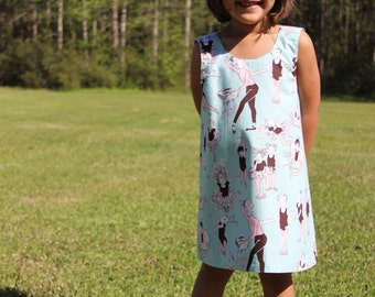 Toddler Girl Dress - Blue - Baby Dress - Pink Ballerina