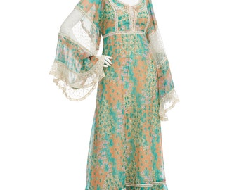 Vintage 70's Green Floral Print Sheer Lace Bell Sleeves EMPIRE Waist Hippie Boho Tiered Skirt Festival Maxi DRESS
