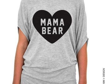 Heart Mama Bear Shirt - Mother's Day Gift Idea - Gift for Mom - Mama Bear - Mom to Be - Gray with Black Slouchy Tee