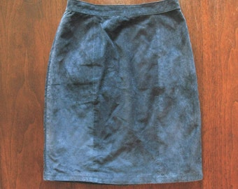 blue suede skirt - 80s vintage worn textured soft genuine leather short tight bodycon high waisted pencil mini minimalist xs 26 inch waist