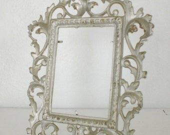 RESERVED Vintage Brass Picture Frame Painted Silver Distressed Ornate Easel Standing Photo Frame GallivantsVintage